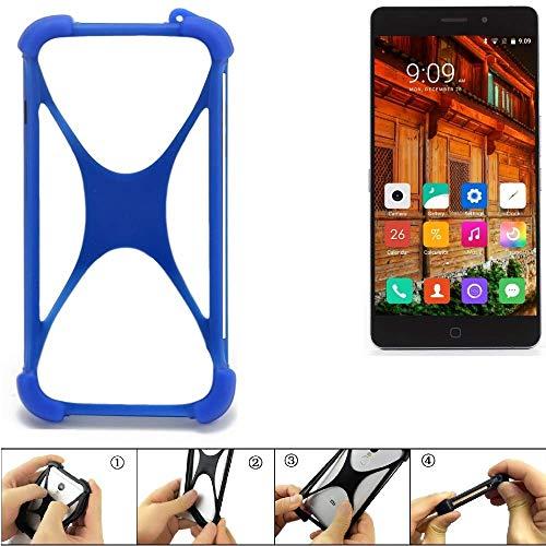 K-S-Trade Handyhülle für Elephone P9000 Lite 4G Silikon Schutz Hülle Cover Case Bumper Silikoncase TPU Softcase Schutzhülle Smartphone Stoßschutz, blau (1x)