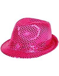 'Chapeau de style trilby pailleté Idéal en complément d''un déguisement dans le cadre d''une soirée à thème, choisir la couleur:TH-55 pink'