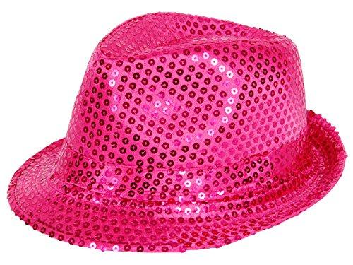 t Glitzerhut Bogart Trilby (Th-55) pink - Faschingshut für Männer und Damen ()