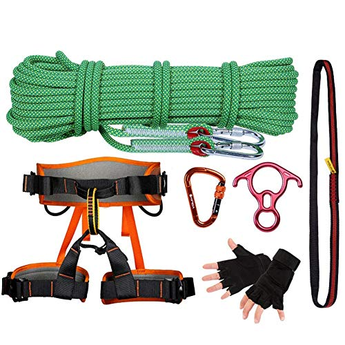 Kletterseil-Set, Outdoor-Karabiner Harness Adventure Equipment Wild Survival Set Escape Rescue Rope Auxiliary Rope Gym Kletter-Ropes 20m