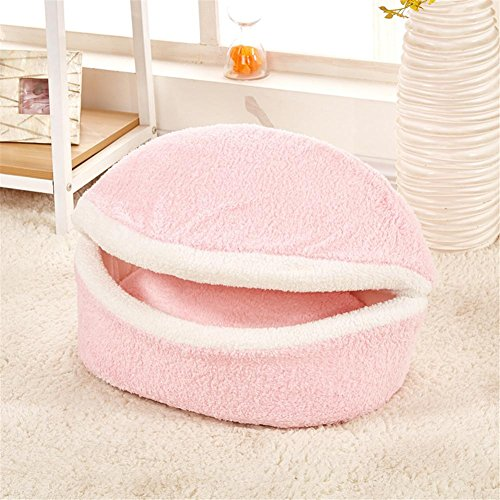 Lit multifonction pour animaux de compagnie Lit de chien doux Chiot Chenil Cat House Kitten Détachable Can Beige lavable Pet Nest Hamburg Shell House , L , 3