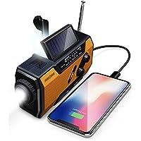 FosPower radio portatil 2000mAh Solar luces de emergencia bateria externa para movil radio pequeña y batería recargable para correr y viajar , para smartphones, tablets y MP3