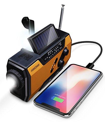 FosPower Notfallradio/Kurbelradio USB/Notfall Solarradio/Notradio/Outdoor Dynamo Radio Kurbel Notstrom|Solar Weltempfänger[Wasserdicht][3 in 1 LED Lampe|Ladegerät(2000mAh)|Karabiner|SOS Signal]