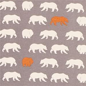 Tissu bio en flanelle birch gris Bear Hike Shroom avec des ours