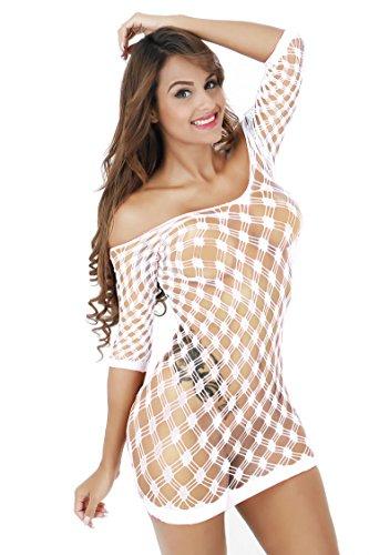 Surded Frauen Babydoll Kleid Dessous See-Through Kleid Nachtwäsche Nachtwäsche Weiß