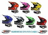 Casque moto enfant 3GO XK188 ROCKY ENFANTS CASQUE Motocross Quad MX ATV sport ECE ACU certifié Casque et moto X1 noir lunettes - BLEU - Large