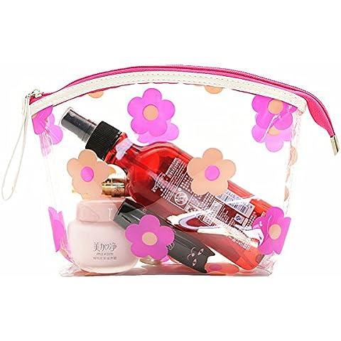 Micom fiori impermeabile trasparente in PVC cosmetici borsa da toilette