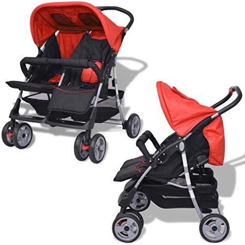 Tidyard Baby Zwillingswagen Klappbar Zwillingskinderwagen Kinderwagen aus Stahl + Oxfordgewebe geeignet für Babys und Kleinkinder, Babytragetasche und Regenschutzhaube, ab Geburt nutzbar