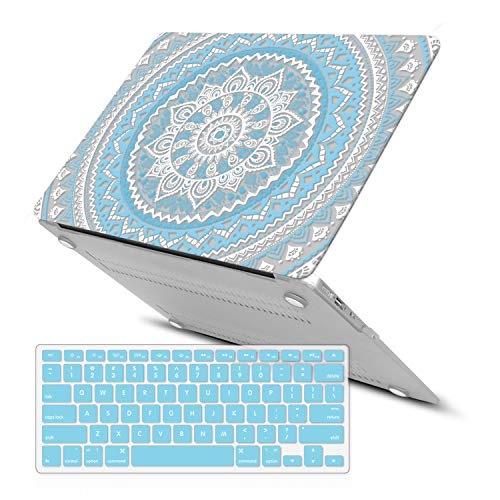 MacBook Air 13 Zoll Hülle, iCasso Rubber Coated Soft Touch Hard Case mit Tastaturabdeckung MacBook Air 13 Zoll (Modell: A1369/A1466), Blaues Medaillon -