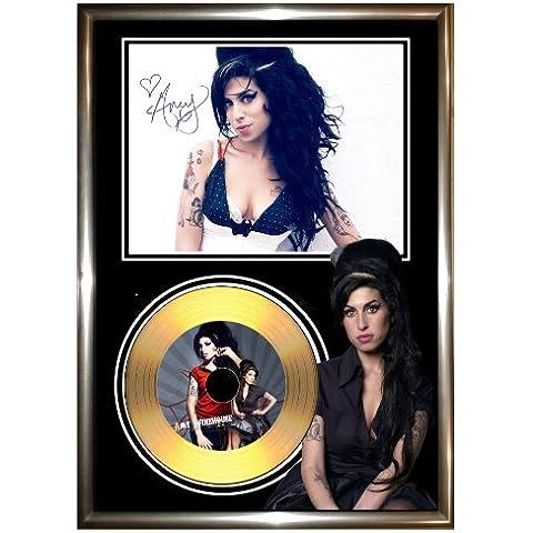 Amy Winehouse–Disco de vinilo dorado enmarcados (firmados CD y foto de–Back To Black