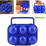 aihometm plegable plástico Portable 6huevos Portador Caso Caja picnic huevos contenedor portátil Holder almacenamiento color al azar