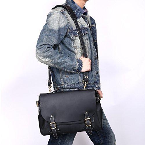 Leathario sac en cuir, sac rétro en cuir, sac vintage, cartable en cuir pour hommes, cartable pour hommes, sacoche en cuir pour hommes, sac porte épaule pour hommes, sac à main Noir1