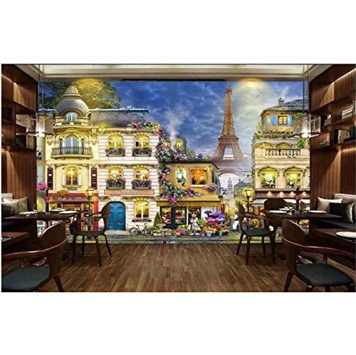 Zyzdsd Benutzerdefinierte Foto 3D Zimmer Tapete Vlies Wandbild Romantische Französisch Street Cafe Malerei 3D Wandbilder Wallpaper Für Wände 3D-400X280CM