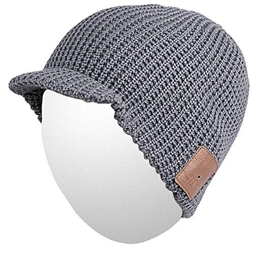 Qshell Slouchy Skully Bluetooth Strickmütze Cap mit Drahtloser Bluetooth Kopfhörer Ohrhörer Musik Audio Freisprech-Telefon-Anruf für Wintersport Fitness Gym-Übungs-Trainings Skifahren Snowboard -