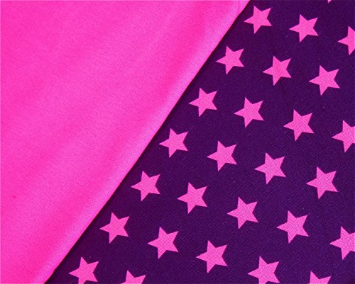 0,5m Jersey Sterne violett-purple & 0,5m uni Jersey uni pink Muster-Mix 95% Baumwolle 5% Elastan Stoffbreite 1,4m (insgesamt 1m x 1,4m) (Elastan Baumwolle Stoff)
