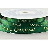 Verde Raso con auguri di Natale 10mm x 20m