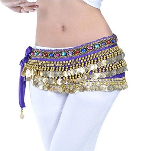 YuanDian Mujer coloreados diamantes Monedas Danza Del Vientre Espectáculo Bufanda Cinturon Cintura Cadena Falda trajes De Belly Dance Morado Oscuro