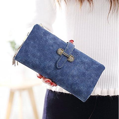 Il coreano ladies portamonete portafogli multi-funzione di grande capacità nappe zipper 18,5*9,5*3cm