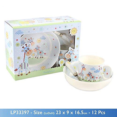 Leonardo Little Sunshine Giraffe 3 Piece Breakfast Set Mug Bowl Spoon Blue Christening Baby