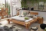 SAM® Massiv-Holzbett 180x200 cm, Yoga Double, natur, Sheesham-Holz, Balkenbett mit geteiltem Kopfteil, Unikat