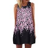 Damen Ärmellos Sommerkleid Minikleid Strandkleid Partykleid Rundhals Rock Mädchen Blumen Drucken Kleider Frauen Mode Kleid Kurz Hemdkleid Blusekleid Kleidung (Schwarz, M)