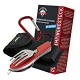 OUTDOOR FREAKZ Outdoor cutlery and camping cutlery foldable made of stainless steel (red)