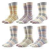 RioRiva Socken Herren - Fein Baumwoll - Bunte schwache Streifen - Europäische Qualität - Mehrfachpack (BSK86-6 Paare Mehrfarbig, EU 41-46/UK 8-12)