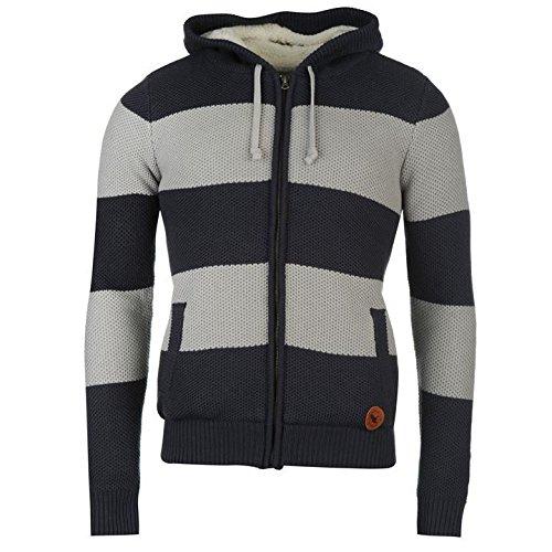 Soulcal righe maglia pullover con cappuccio navy/grigio maglione pullover top,