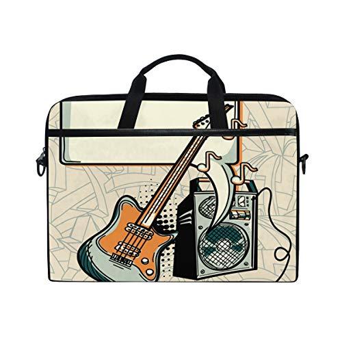 NR 15-15.4 Zoll Laptop Tasche Notebook Handtasche Umhängetasche Aktentasche,Musikdesign - Gitarrenverstärker und Sprechblase