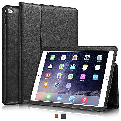 KAVAJ Lederhülle Berlin geeignet für Apple iPad Air 2 Schwarz Hülle Echtleder Case aus echtem Leder mit Stand und Auto Schlaf/Aufwachen Funktion. Dünnes Smart-Cover Schutzhülle Tasche Ledertasche