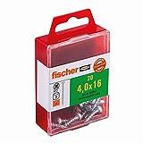 Fischer 652851 - Power-rápida conjunto de 20 tornillos de cabeza plana pz galvanizado 4,0 x 16 mm azul