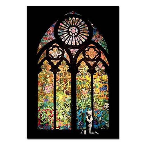 asmalerei Graffiti Fenster Poster Kunst Bild weiß schwarz gerahmte Druck klein groß ()