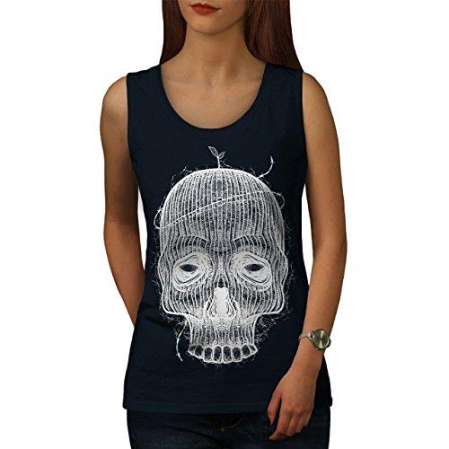 Crâne Visage Effrayant Tête Femme S-2XL Débardeur | Wellcoda Bleu