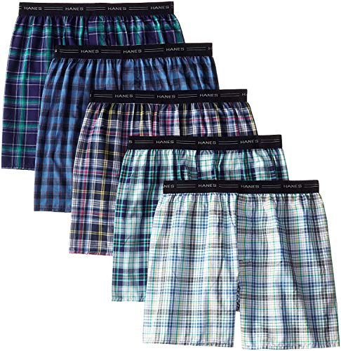 Hanes Red Label Men's Woven Exposed Waistband Boxers (Fashion Plaid, Medium 32-34