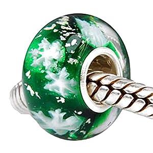 Charm Buddy Charm Anhänger 925 Sterling Silber Grün/Schneeflocke Weihnachten passend für Pandora Armbänder