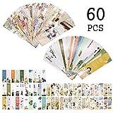Segnalibri Illustrazione per le donne Ragazze, Inspirational Citazioni Fashion Book Cards Marker Vintage for Kids Children Student (60 PCS)