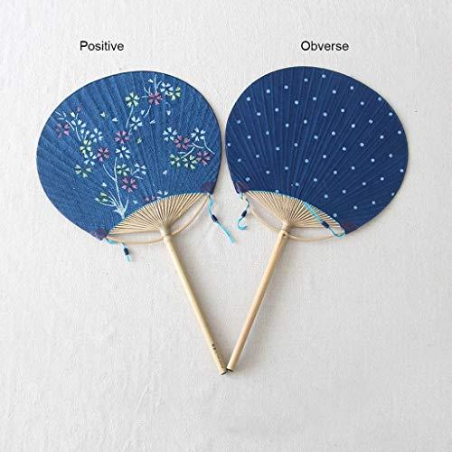 Seil, Stoff Handtaschen (NIANJIAN Runde Fan Mini tragbare kleine Fan Baumwolle und Leinen Stickerei handgefärbte Gruppe Fan chinesischen Stil besondere Geschenk Fan (Color : B))