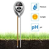 Soil PH Meter, Inkerscoop 3 in 1 Soil Acidity Reader Light PH Moisture Meter Säuretester Pflanzenöltester Kit for Garden, Utilities, Agriculture, Indoor and Outdoor Use (No Battery Required)