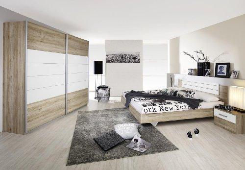 Rauch Schlafzimmer Komplett Set mit Bett 180×200, Schwebetürenschrank , Nachttischen Eiche San Remo hell, Absetzungen Alpinweiß