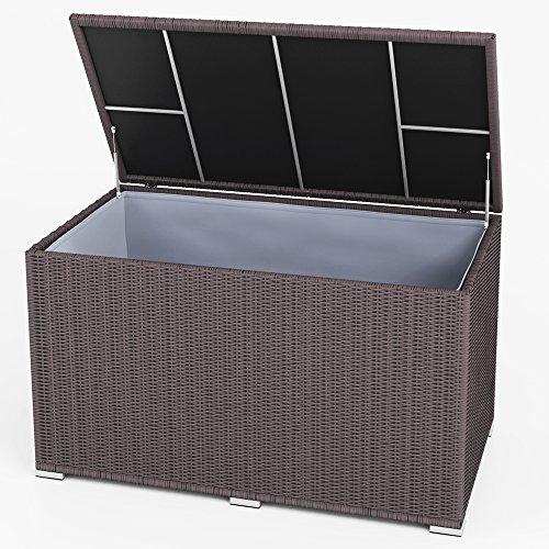XXL Kissenbox wasserdicht Polyrattan 950L Braun Auflagenbox Gartenbox Gartentruhe Aufbewahrungsbox