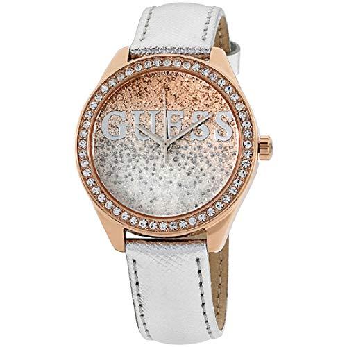 Guess Unisex Erwachsene Datum klassisch Quarz Uhr mit Leder Armband W0823L7