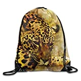 Leopard Watercolor Wild Cat Animal Print Drawstring Backpack Rucksack Shoulder Bags Gym Bag Sport Bag