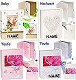 alles-meine.de GmbH Geschenkbox / Schatzkästchen / Fotobox -  zur Taufe - rosa  incl. Name __ mit Karte / Verpackung - Glückwunschkarte / Geschenkkästchen / Erinnerungsbox - Bu..