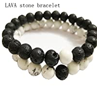 Product Detail   Brand: BIBIone Product name: CalmWhite Howlite Lava Stone Diffuser Bracelet Package of bracelet:2 pack 2 color Material: volcanic stone + white turquoise Product size: inner length of about 19cm, beads diameter of 8mm Product...