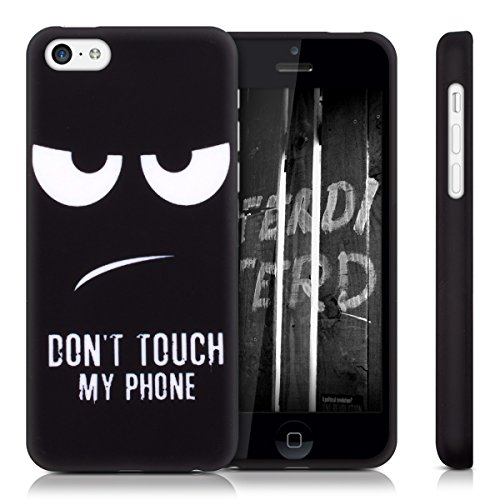 kwmobile Hülle für Apple iPhone 5C - TPU Silikon Backcover Case Handy Schutzhülle - Cover klar Don't touch my Phone Design Weiß Schwarz Don't touch my Phone Weiß Schwarz