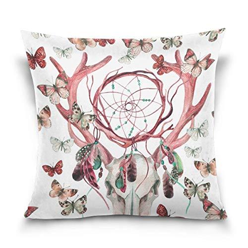 Klotr federe cuscino divano, deer skull pattern decorative square throw pillow covers home decor cushion case for sofa bedroom car 18 x 18 inch 45 x 45 cm