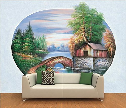 Wallpaper Benutzerdefinierte Fototapete Wohnzimmer Mauer Waldbrücke See Hütte 3D Malerei Sofa Hintergrund Wallpaper Für Wände 3D 280Cm X 180Cm ()