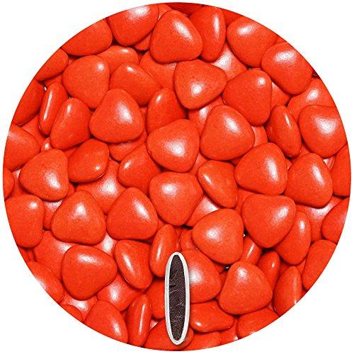 Herzen Dunkle Roten Mit Schokolade (Schokoherzen 500g ca. 277 St. rot glanz med. EinsSein® Gastgeschenke Hochzeit schokolade schokolinsen dragees dunkle Taufe herz candy bar bonboniere Hochzeitsmandeln Taufmandeln herzdragees)