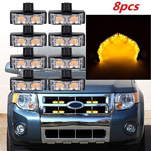 Ambre 8 pcs 2led avant de voiture grille Strobe Light bar d'urgence avertissement Hazard lampe