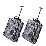 Set of 2 Super Lightweight Cabin Approved Luggage Travel Wheely Suitcase Wheeled Bags 1.65k - 42 Litres (Cities)